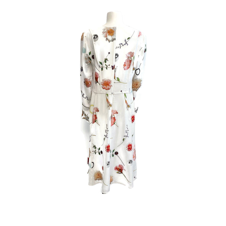 Narciso Rodriguez Ivory Floral Print Work/Office Dress