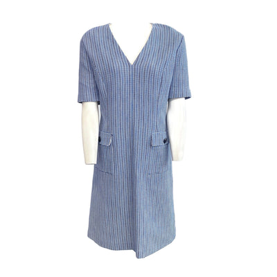 Escada Blue / White Cotton V Neck Casual Dress
