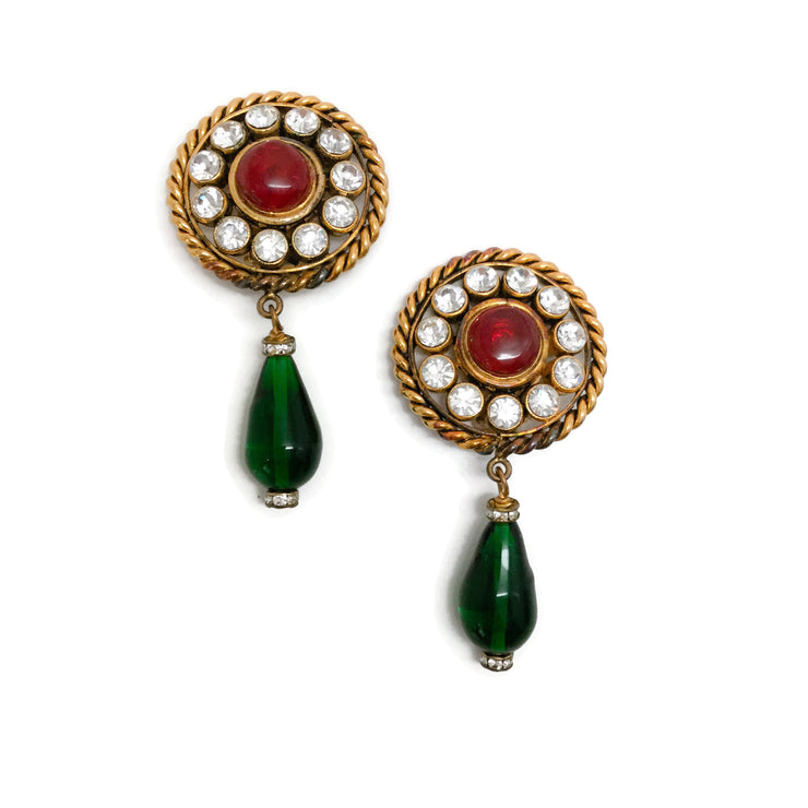 Chanel Red / Green / Gold Vintage 1984 Gripoix Earrings