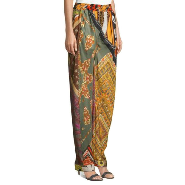 Chloé Orange Mixed Print Silk Pants