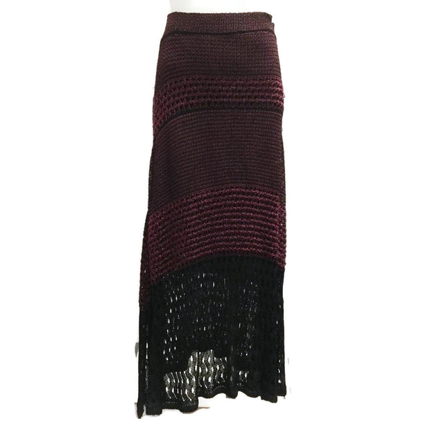 Proenza Schouler Wine and Black Woven Knit Midi Skirt