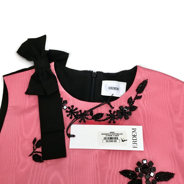 ERDEM Pink / Black Embellished Flowers Cocktail Dress