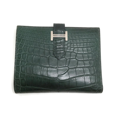 Hermès Green Alligator Bearn Compact Wallet