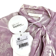 Chloé Purple / White Tie Front Ruffle Blouse