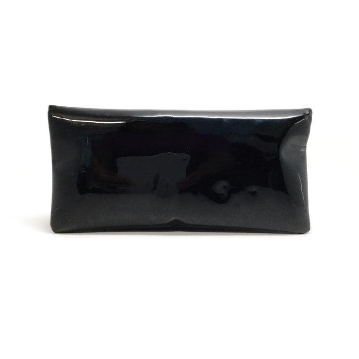 Chanel Rhinestone Black Patent Leather Fold Over Clutch