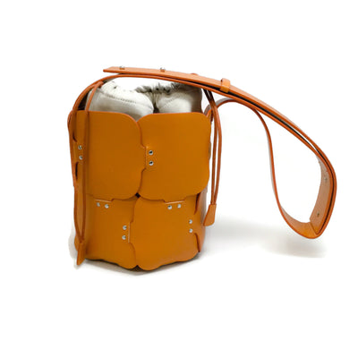 paco rabanne Bucket With Canvas Orange Leather Shoulder Bag