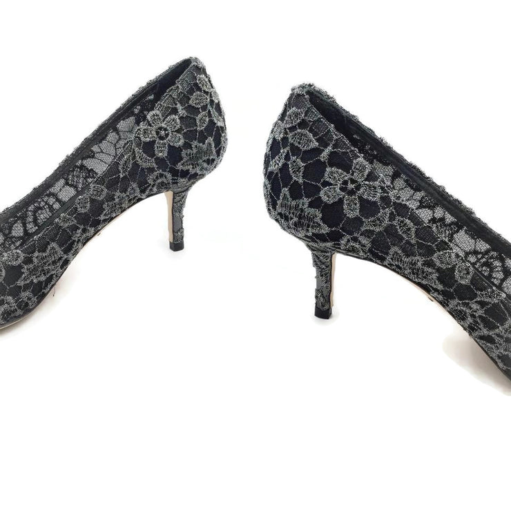 Dolce&Gabbana Black and Silver Lace Crystal Embellished Pumps