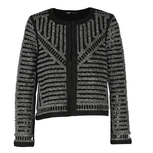 Maje Black / Silver Metallic Open Knit Jacket