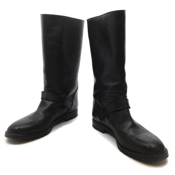 Manolo Blahnik Black Leather Mid Calf Boots/Booties
