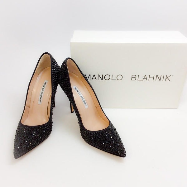 Bb Jet Crystal Coated Satin Black Pumps by Manolo Blahnik with box