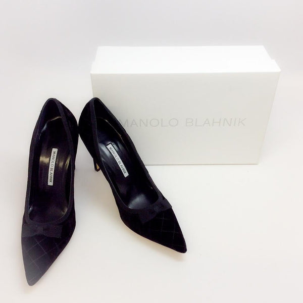 Bb 105 Quilted Velvet Black Pumps by Manolo Blahnik with box
