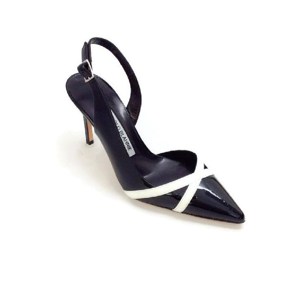 M-Scoppafi Black / White Pumps by Manolo Blahnik