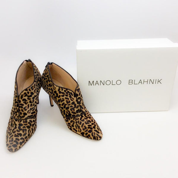 Cairo Leopard Booties by Manolo Blahnik with box