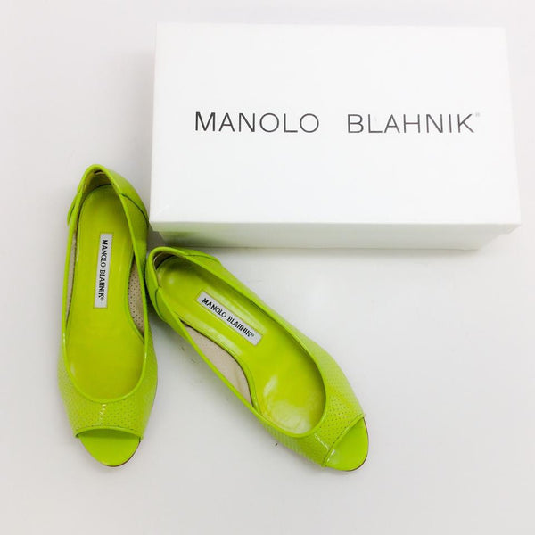 Anetina Lime Patent Leather Flats with box
