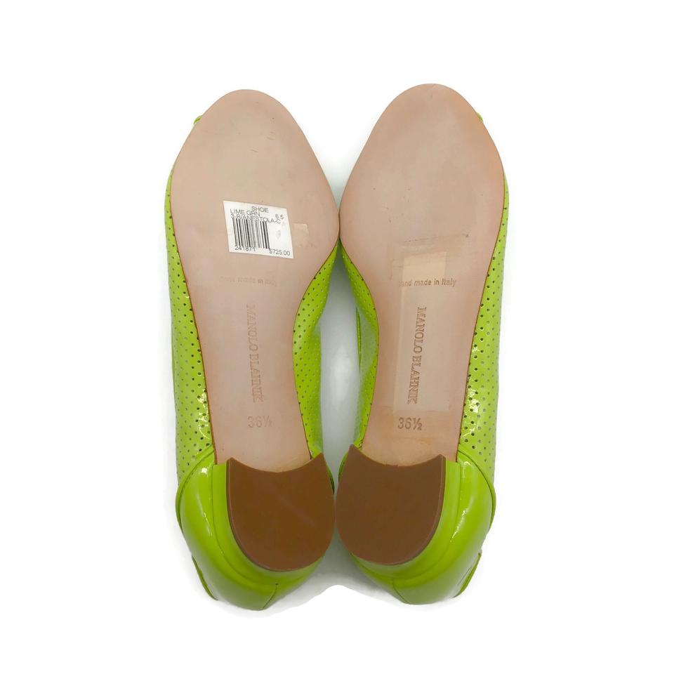 Manolo Blahnik Lime Perforated Peep Toe Flats