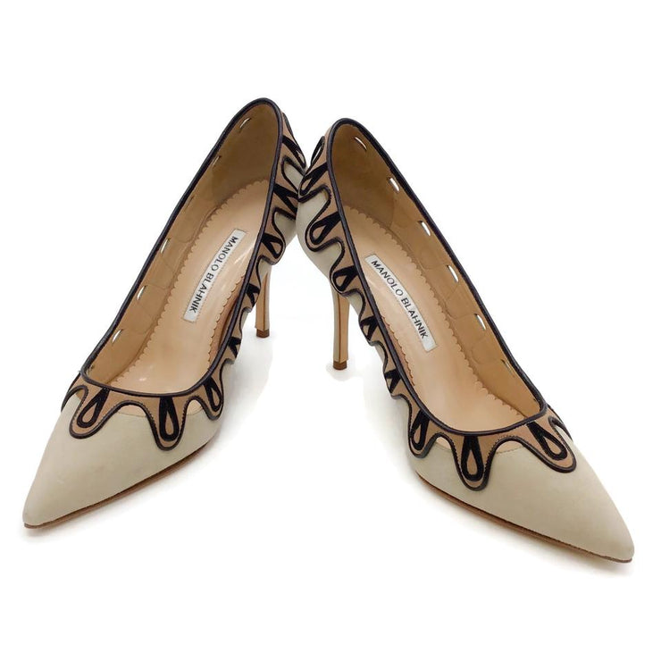 Manolo Blahnik Nude/Black Suede Pumps