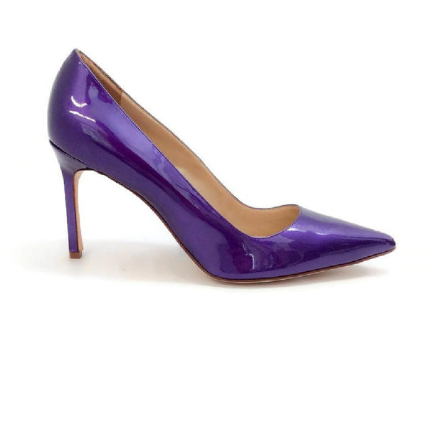 BB 90 Purple Patent Pumps by Manolo Blahnik outside