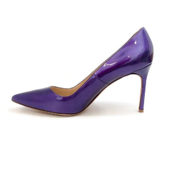 BB 90 Purple Patent Pumps by Manolo Blahnik inside