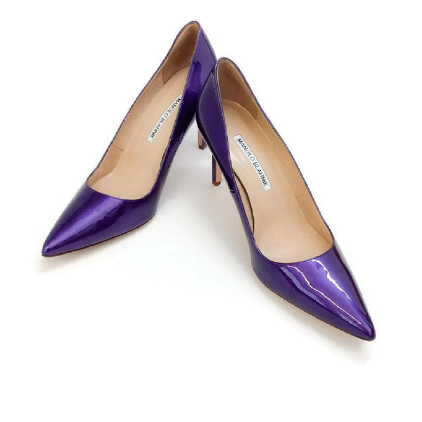 BB 90 Purple Patent Pumps by Manolo Blahnik pair