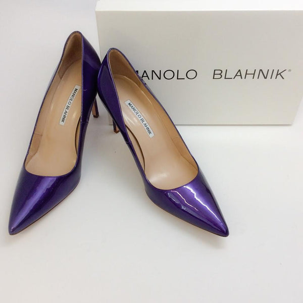 BB 90 Purple Patent Pumps by Manolo Blahnik with box