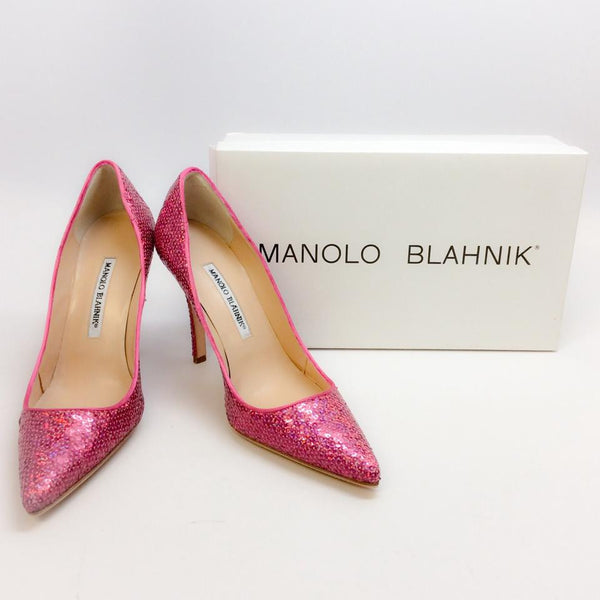 Ciuzzosa Pink Sequin Pumps by Manolo Blahnik with box