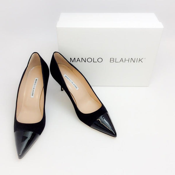 Bipunta 70 Black Patent / Suede Pumps by Manolo Blahnik with box