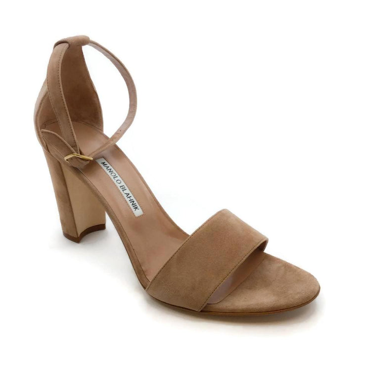 Manolo Blahnik Rose Laura Suede Sandals
