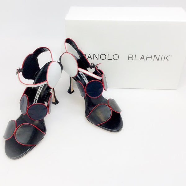 Piped Circle Sandal in Black / White / Red by Manolo Blahnik with box