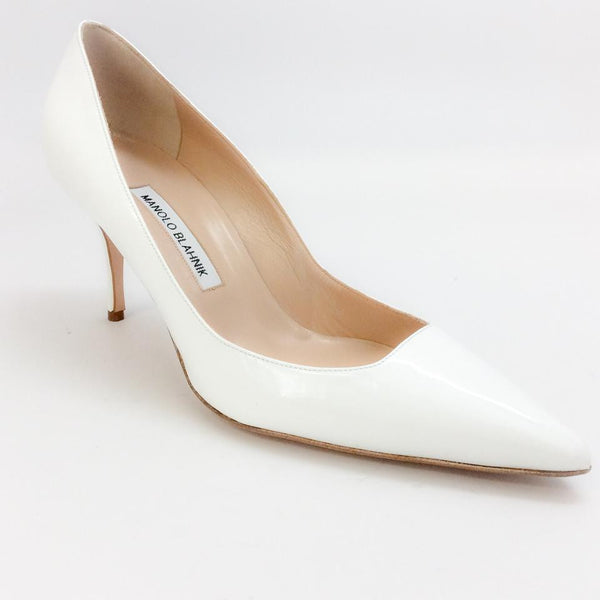 Arina White Patent Pump by Manolo Blahnik
