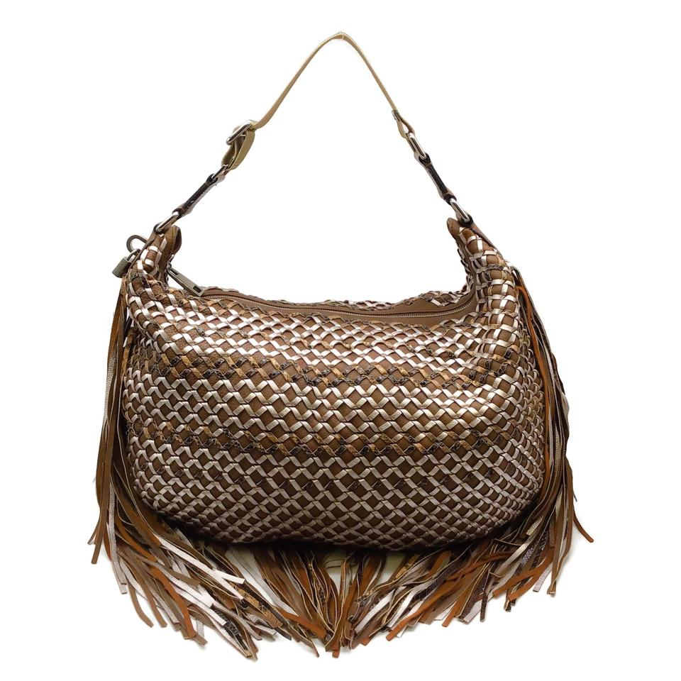 Marc Jacobs Fringe Brown/Gold Leather Hobo Bag