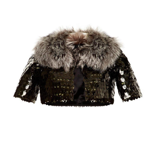 Marc Jacobs Pewter / Green Fox Fur Trimmed Bolero Jacket