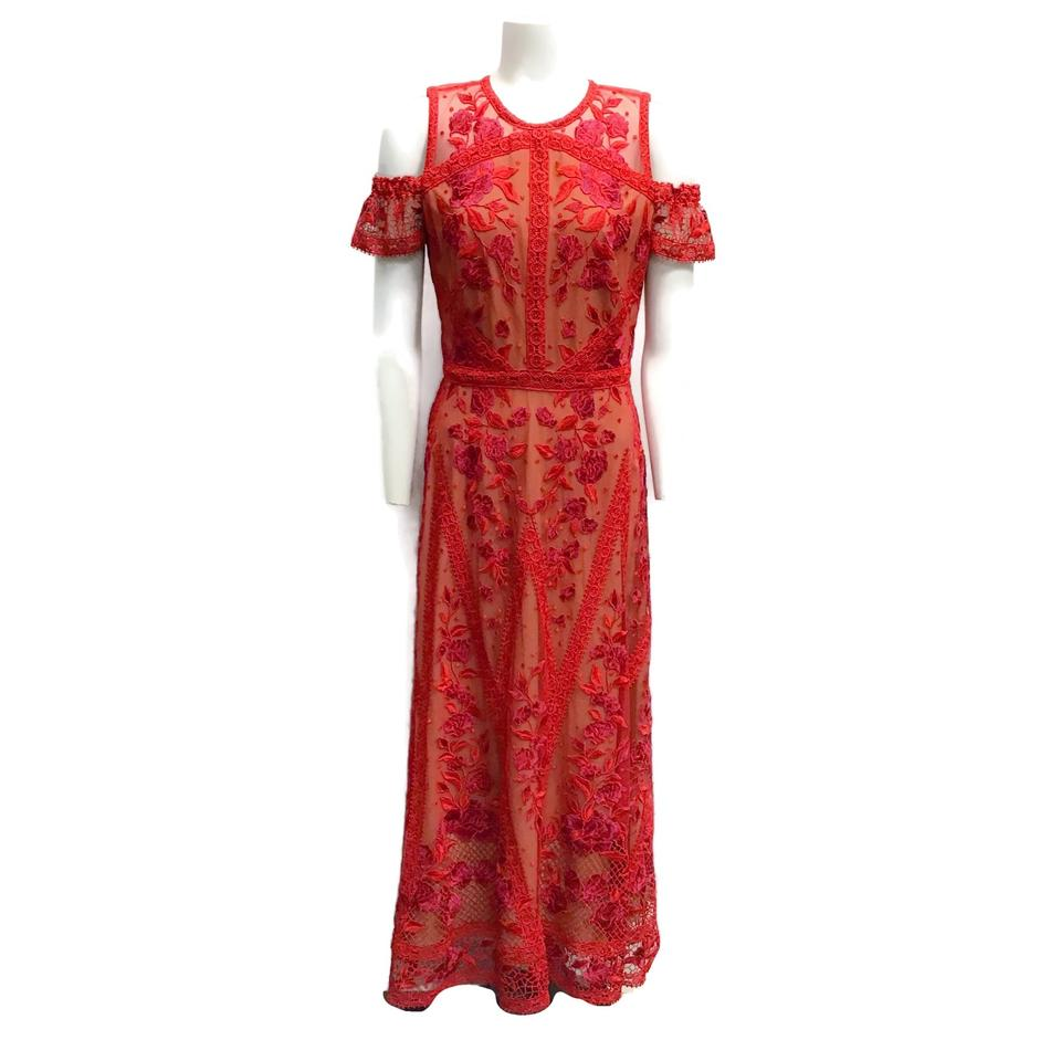 Marchesa Notte Red/Nude Embroidered Dress