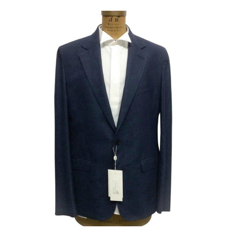 Wool Silk Linen Blend Blue Blazer by Maison Margiela