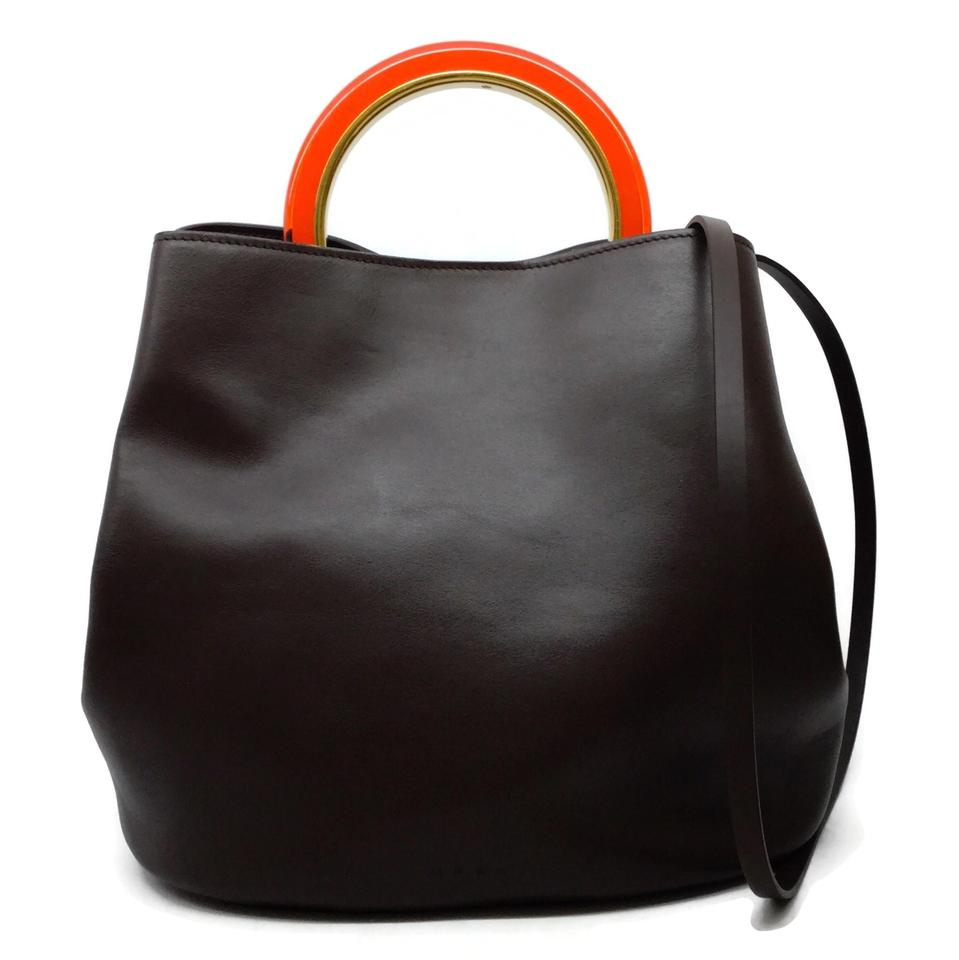 Marni Bucket Pannier Brown / Orange Calfskin Leather Tote