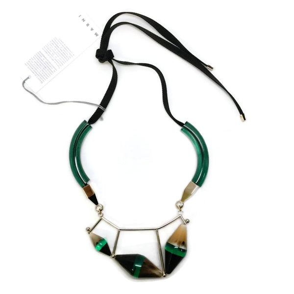 Marni Emerald / Gold Horn Necklace