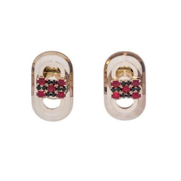 Marni Fire / Gold Runway Cuff Links In Metal Plexiglass and Strass