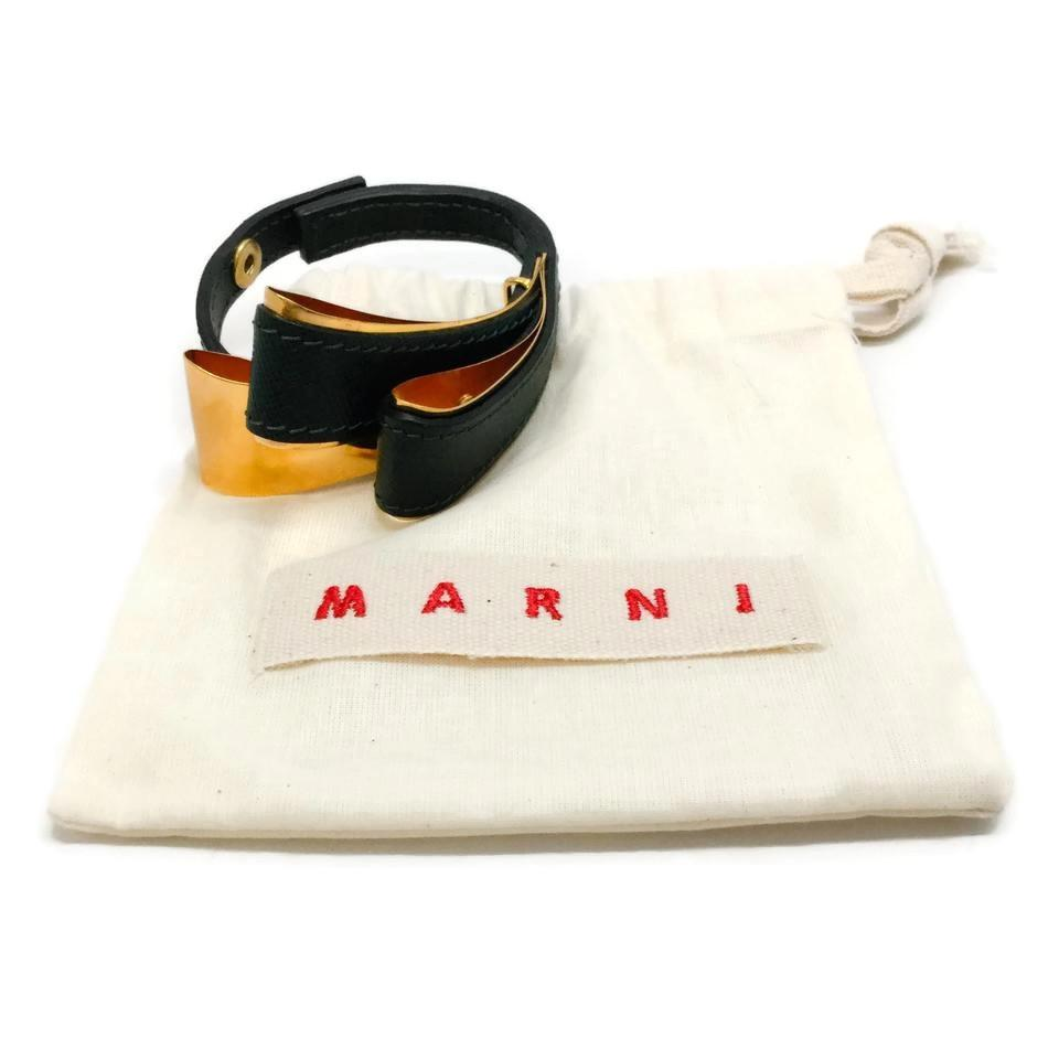 Marni Green / Gold 7.5 Leather Bracelet