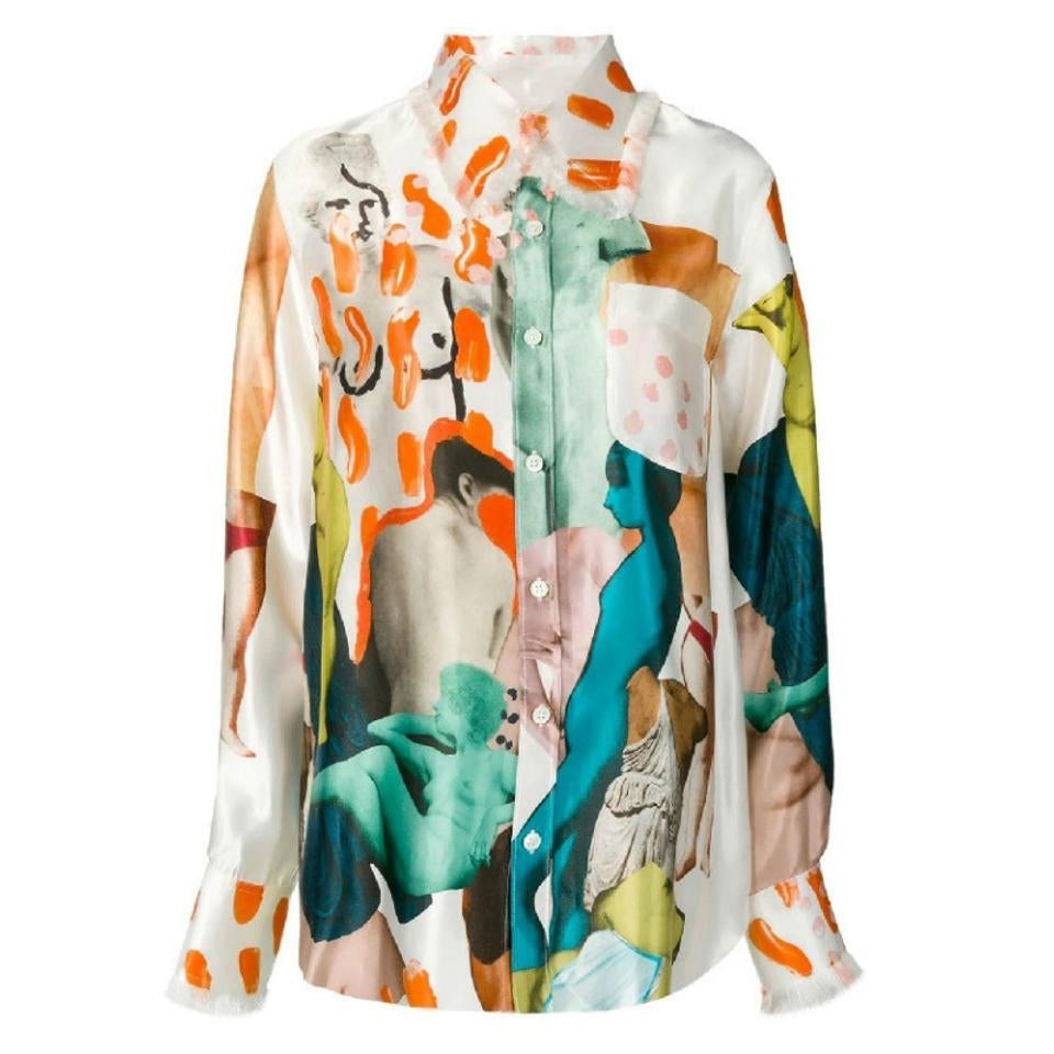 Marni Multicolor Art Collage Button-down Top