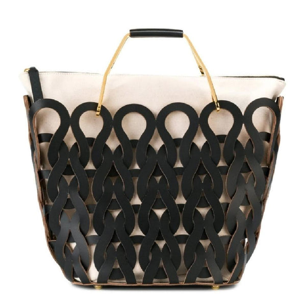Marni Tricot Black / Ivory Leather Tote