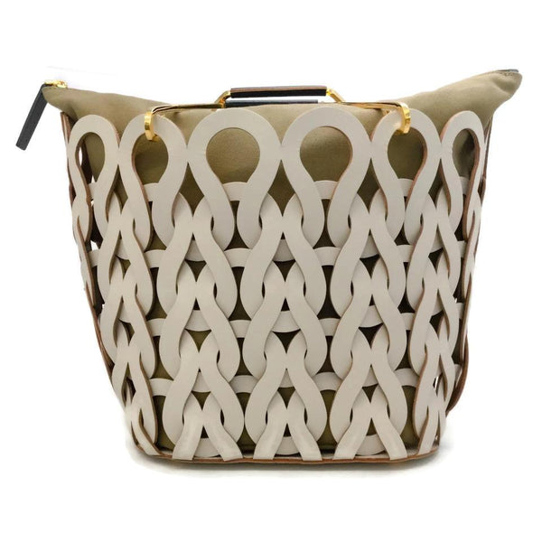 Marni Tricot Cream / Olive Leather Tote