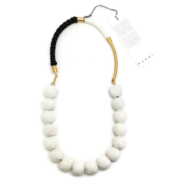 Marni White / Gold Fabric Necklace