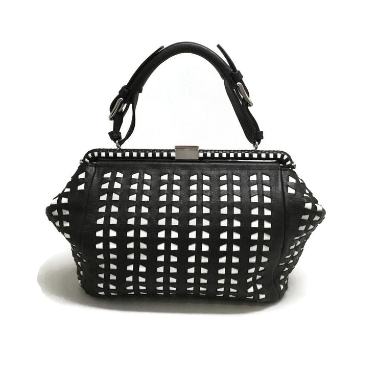 Marni Woven Black/White Leather Satchel
