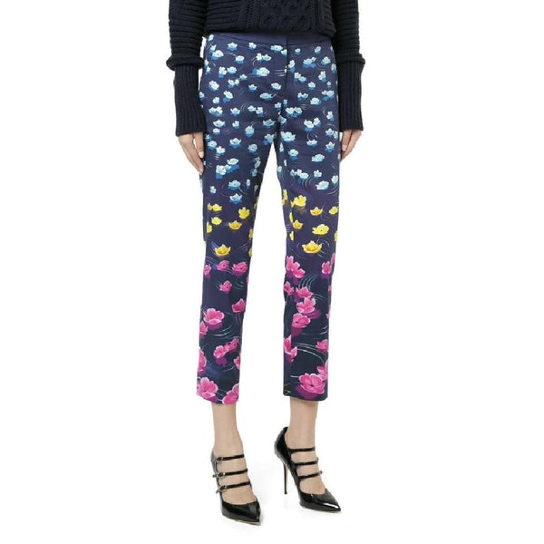 MARY KATRANTZOU Navy / Multi Lillies Rainbow Cropped Pants
