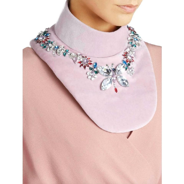 MARY KATRANTZOU Misty Pink Crystal Embellished Velvet Bib