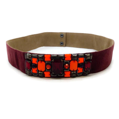 Matthew Williamson Burgandy Suede with Stones Belt