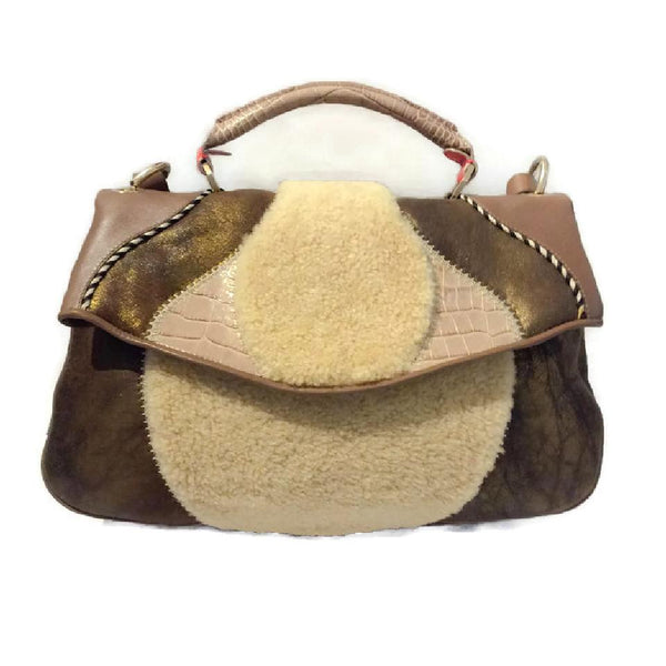 Metallic And Shearling Shoulder Bag by Matthew Williamson