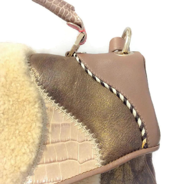 Metallic And Shearling Shoulder Bag by Matthew Williamson front detail