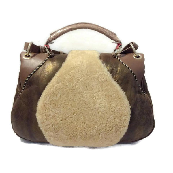Metallic And Shearling Shoulder Bag by Matthew Williamson back