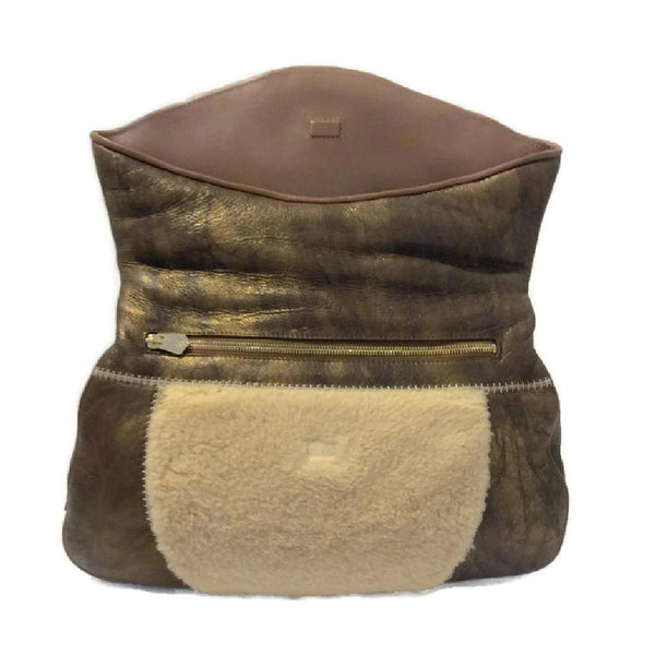 Metallic And Shearling Shoulder Bag by Matthew Williamson flap