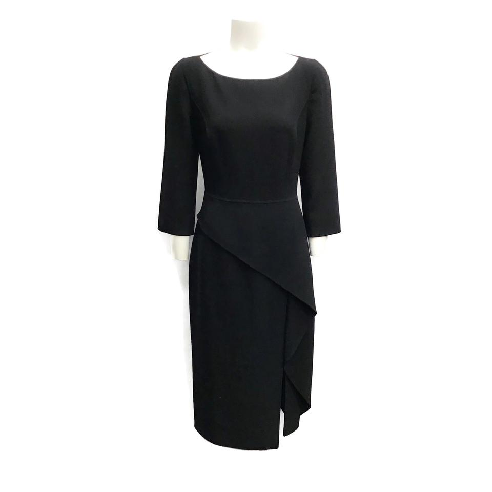 Michael Kors Black Draped Wool Dress